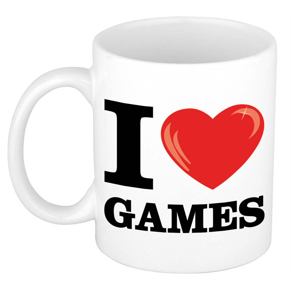 I Love Games cadeau mok / beker wit met hartje 300 ml