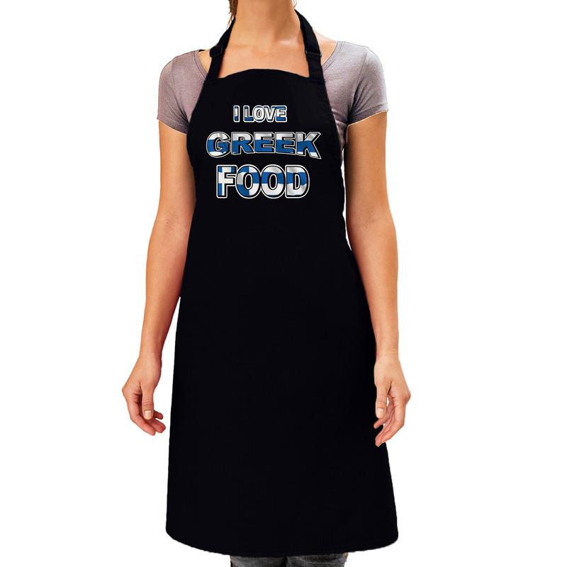I love Greek food barbecue/keuken schort zwart voor dames -