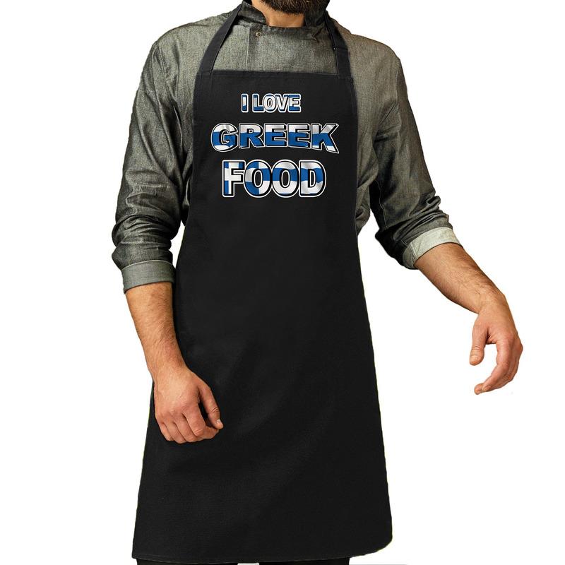 I love Greek food barbecue/keuken schort zwart voor heren -