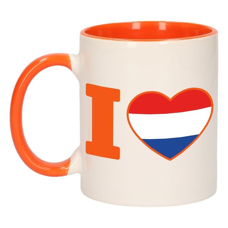 I love Holland mok/ beker oranje wit 300 ml