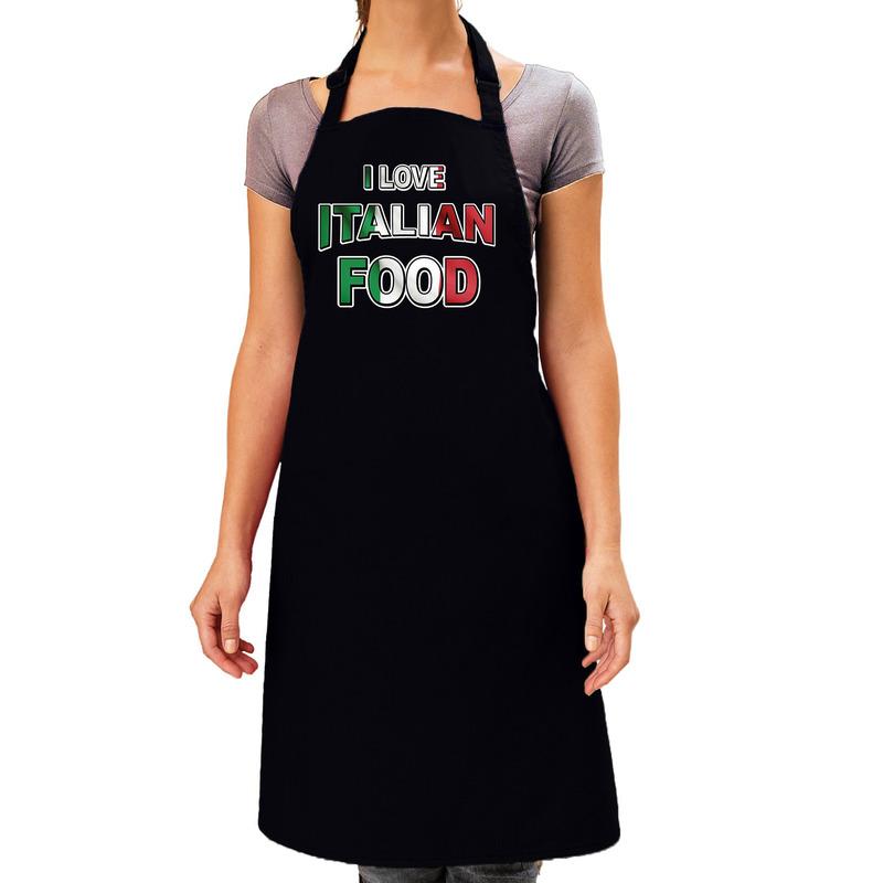 I love Italian food barbecue/keuken schort zwart voor dames -
