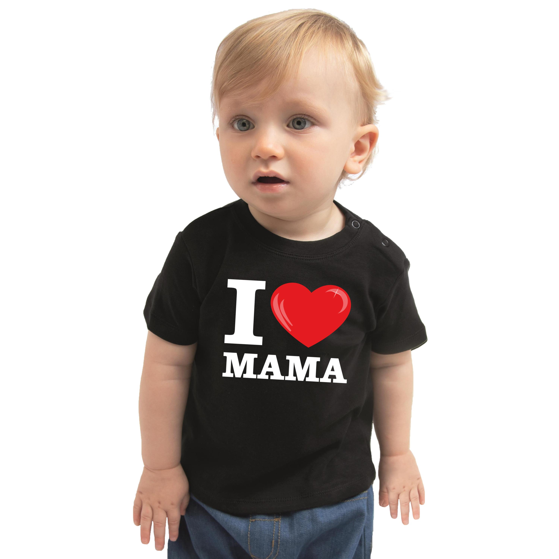 I love mama cadeau t-shirt zwart baby jongen/meisje