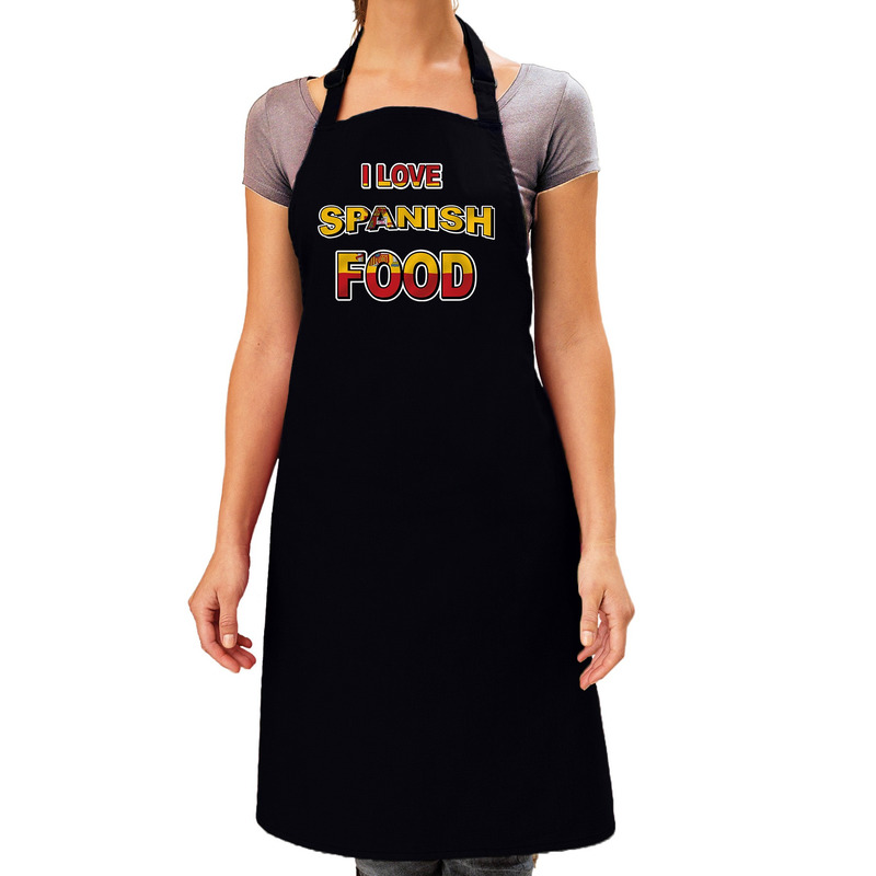 I love Spanish food barbecue/keuken schort zwart voor dames -