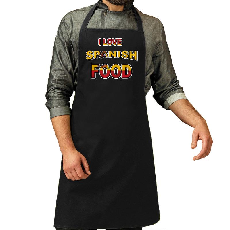 I love Spanish food barbecue/keuken schort zwart voor heren -