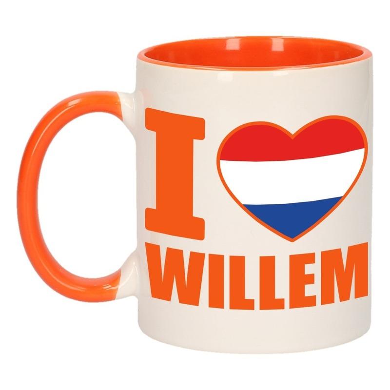 I love Willem mok/ beker oranje wit 300 ml
