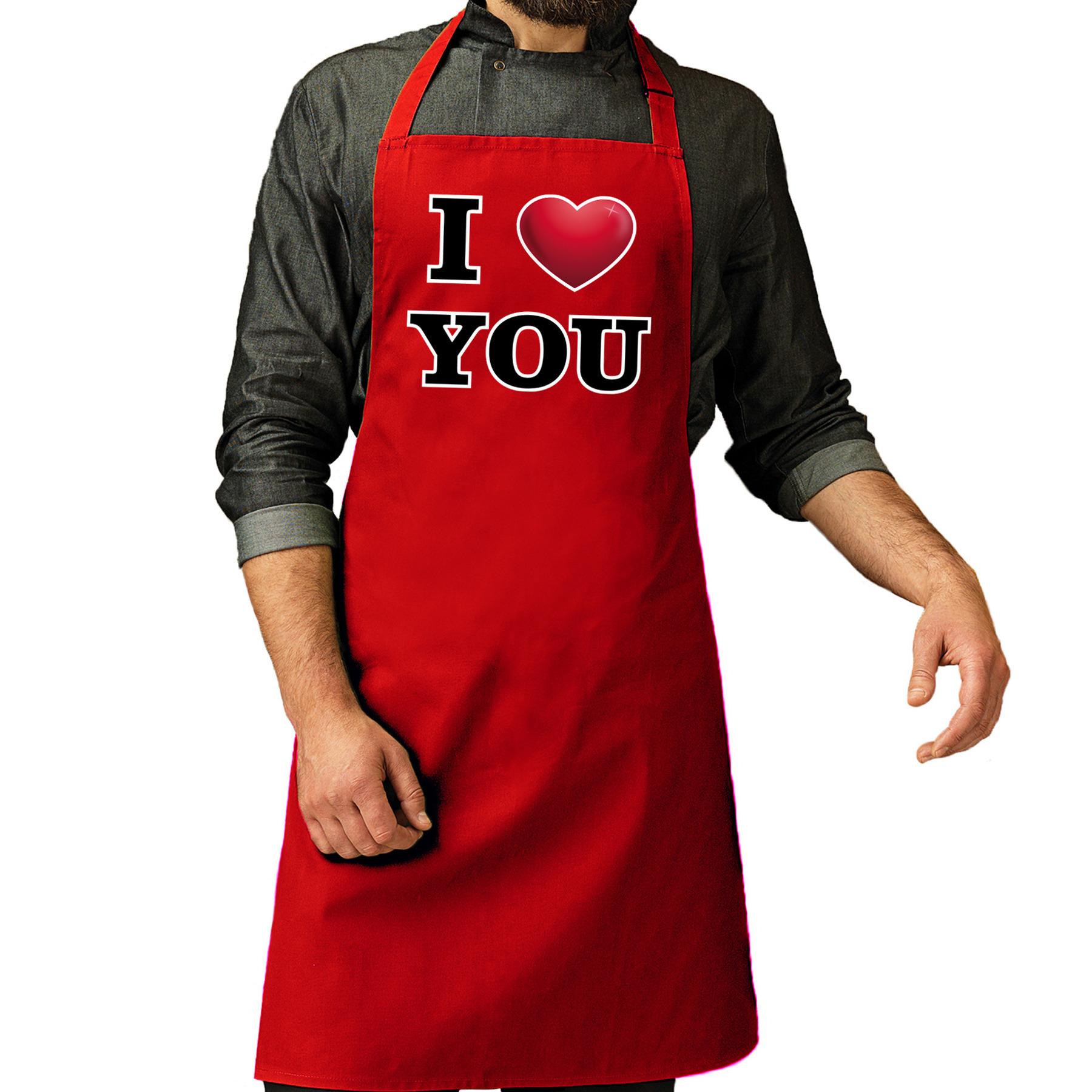 I love you barbecueschort rood voor heren -