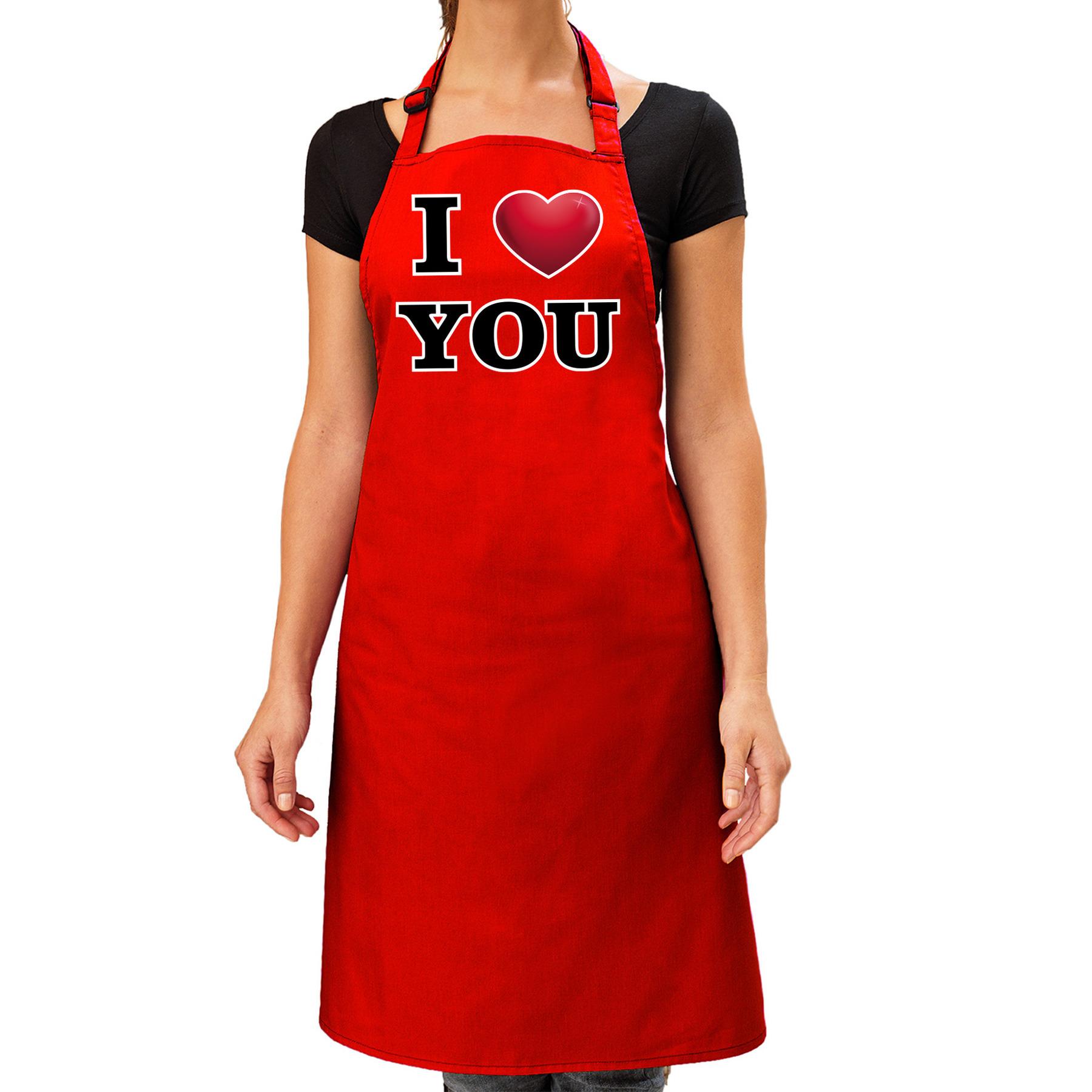I love you keukenschort rood voor dames -