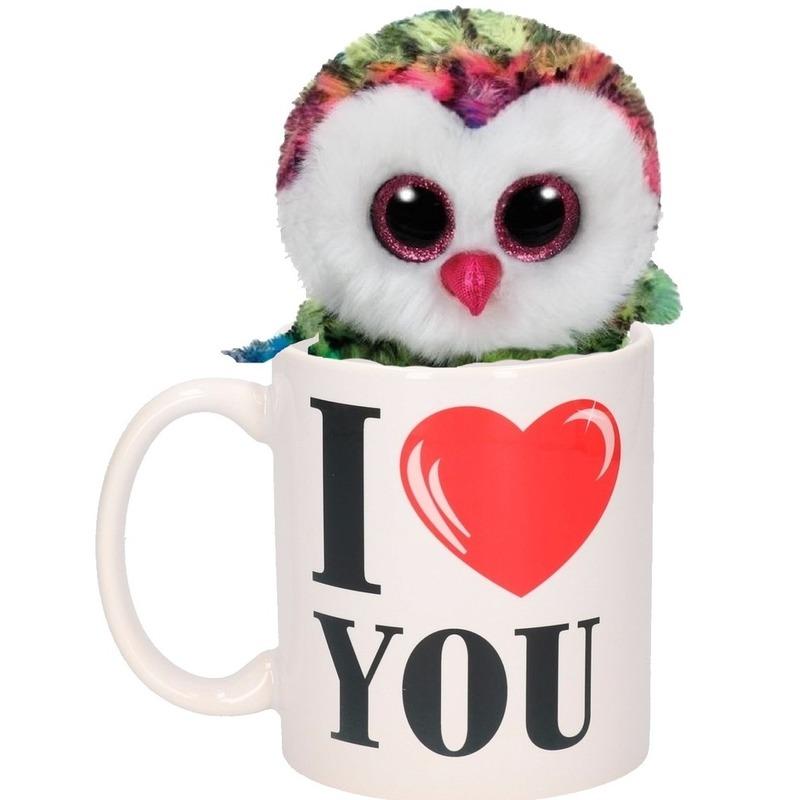 I Love You mok met gekleurde knuffel uil