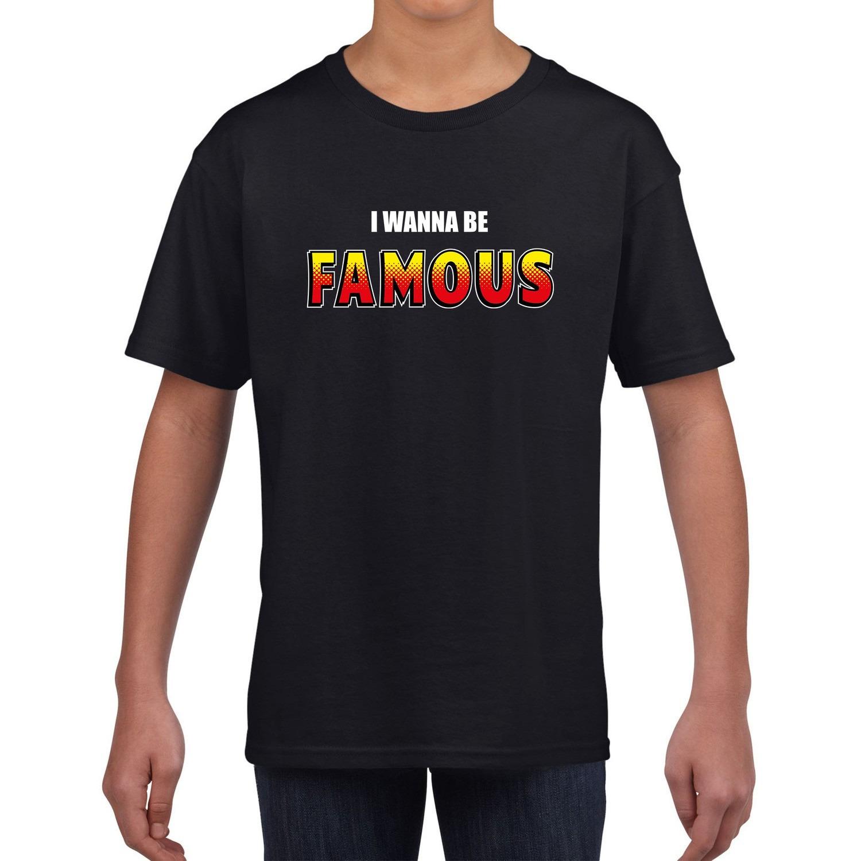 I wanna be famous fun tekst t-shirt zwart kids