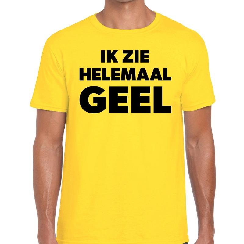 Ik zie helemaal geel tekst t-shirt geel heren