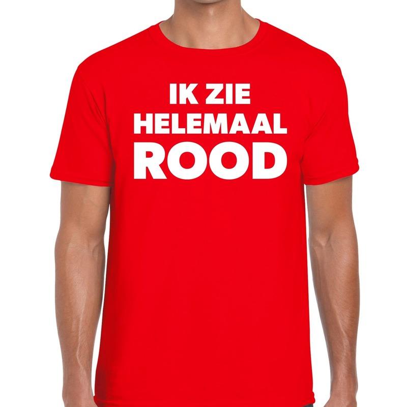 Ik zie helemaal rood tekst t-shirt rood heren