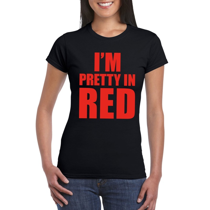 I'm pretty in red t-shirt zwart dames