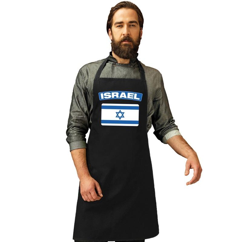 Israel vlag barbecueschort/ keukenschort zwart volwassenen - Feestschorten