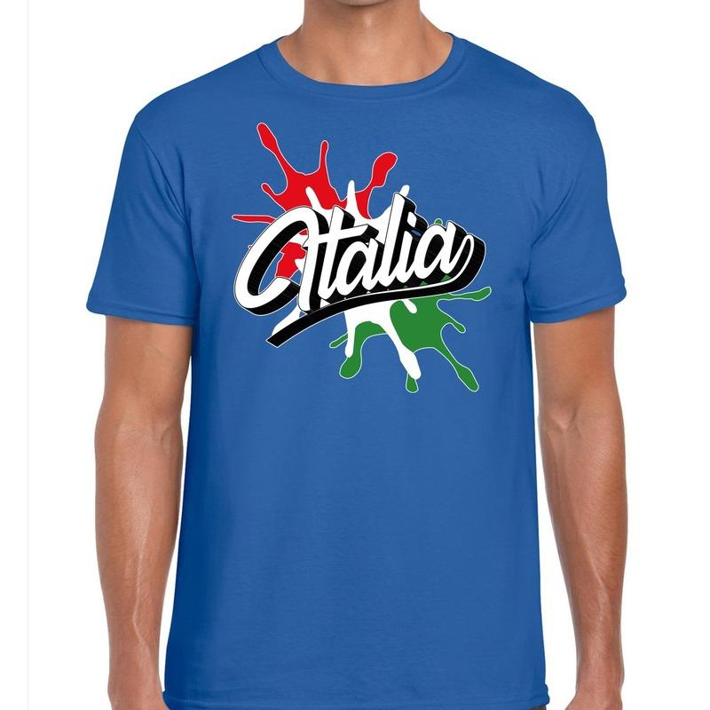 Italia/Italie t-shirt spetter blauw voor heren