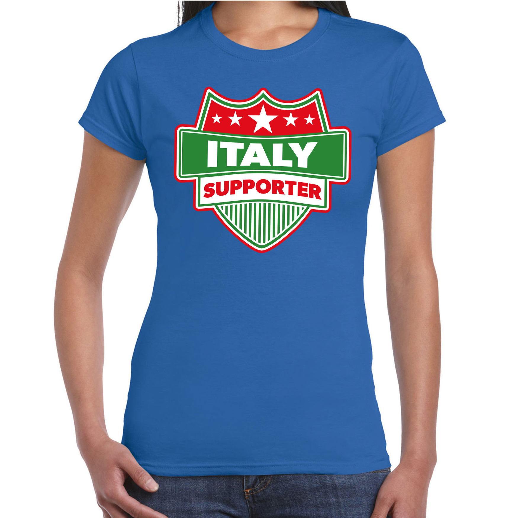 Italie / italy schild supporter t shirt blauw voor dames. op dit blauwe t shirt staat een schild met de ...