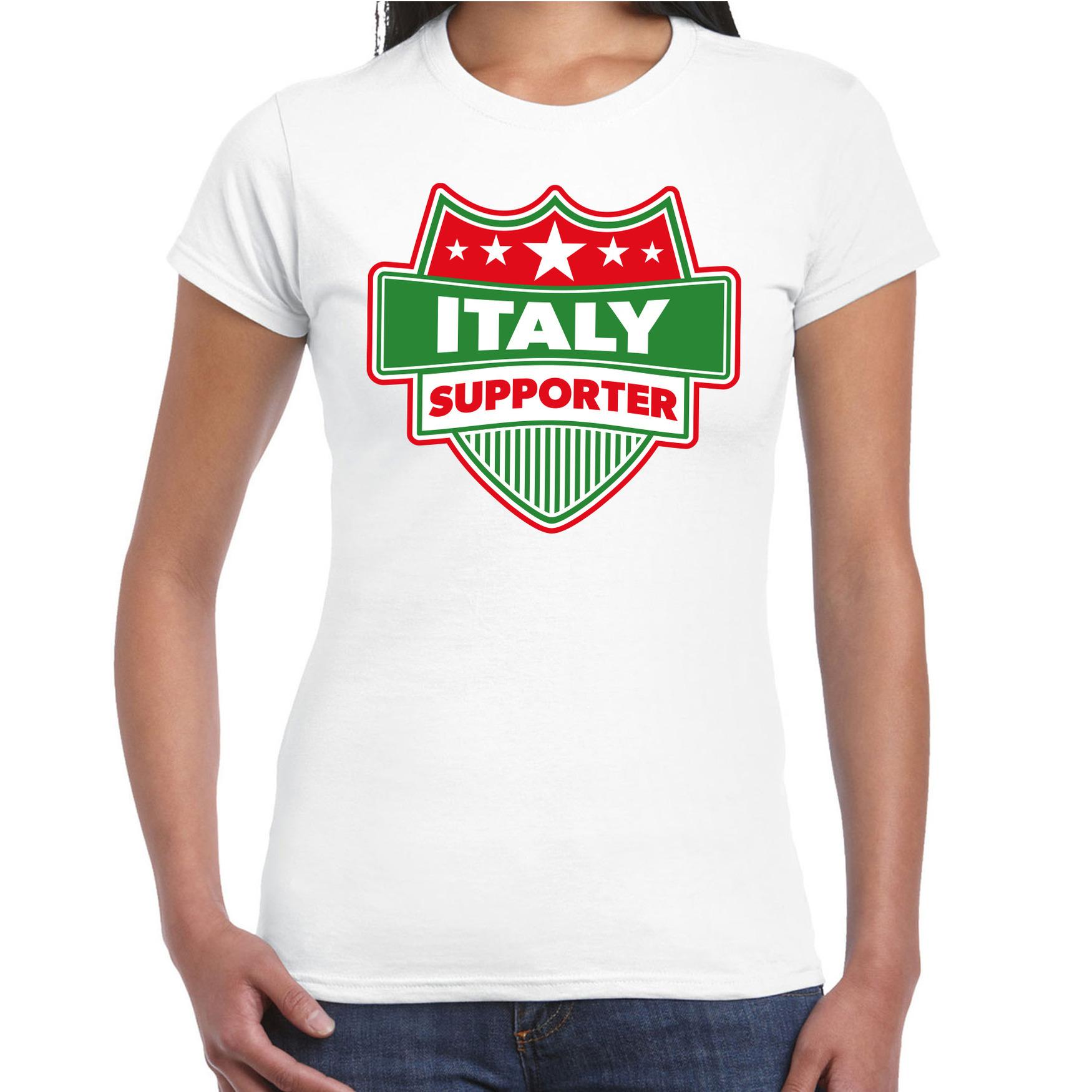 Italie / italy schild supporter t shirt wit voor dames. op dit witte t shirt staat een schild met de tekst: ...