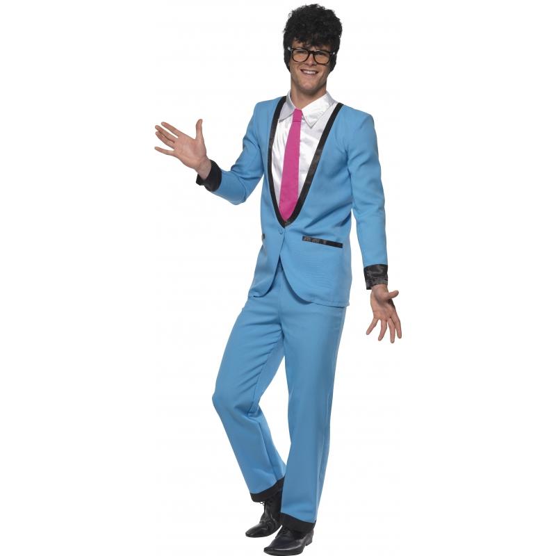Jaren 50/fifties blauwe tuxedo verkleed kostuum voor heren