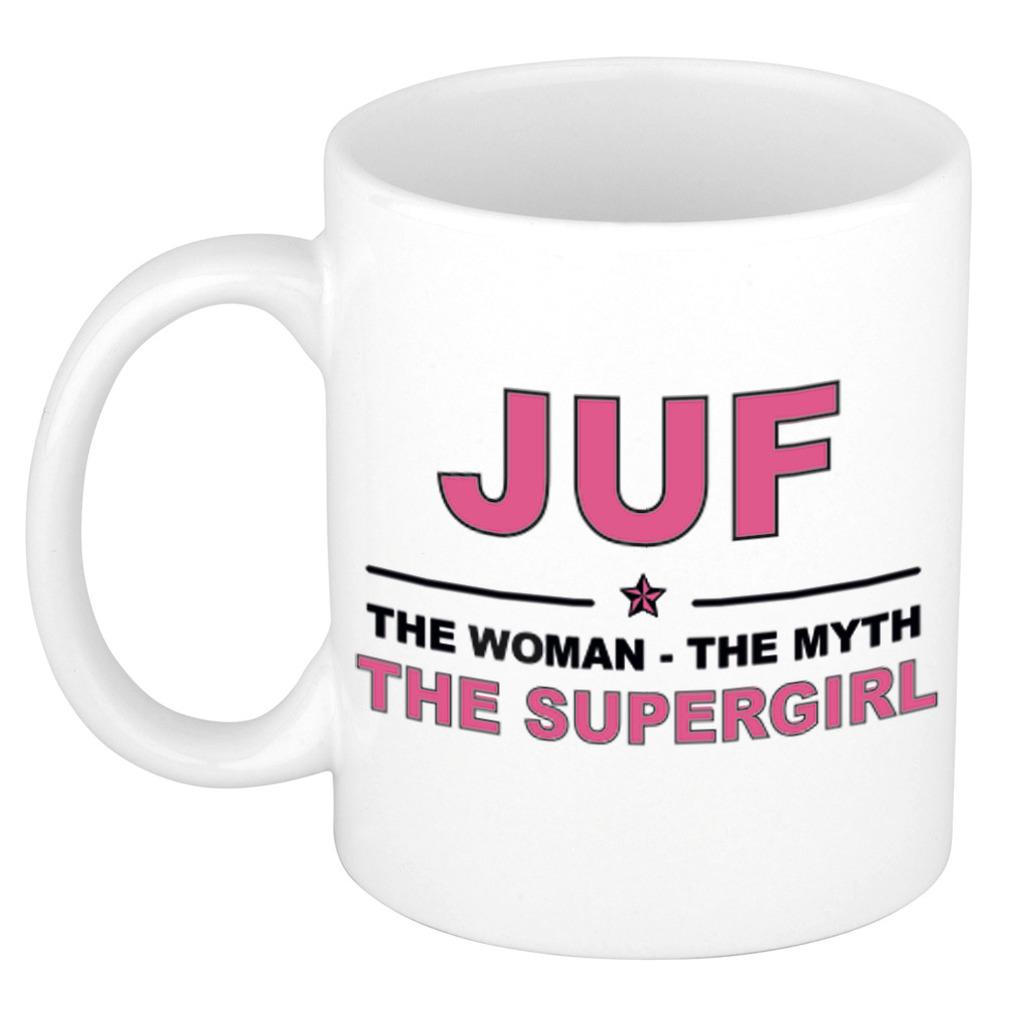 Juf the woman, the myth, the supergirl cadeau koffiemok - theebeker 300 ml