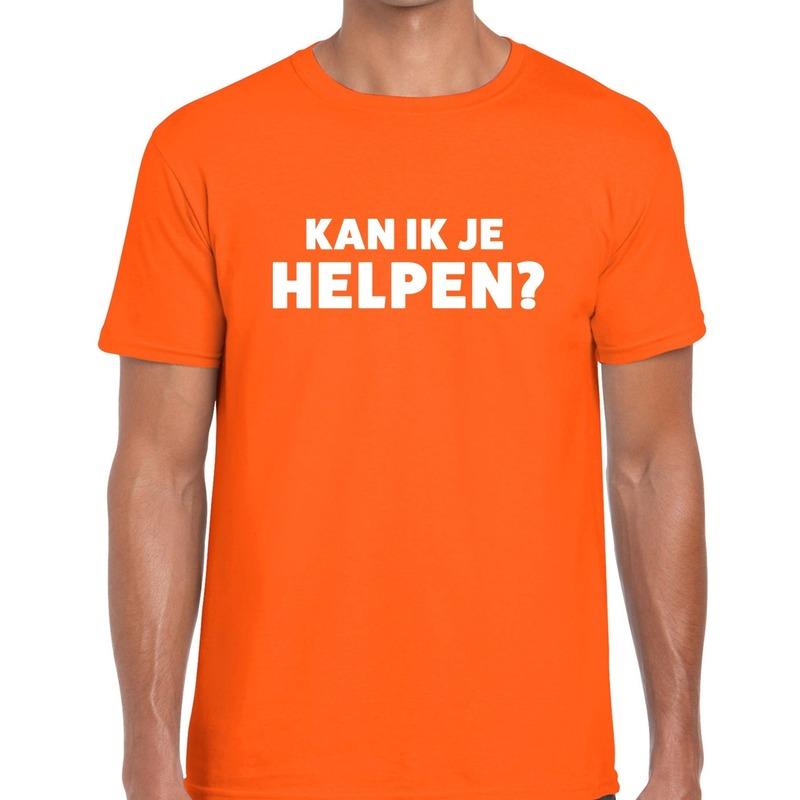 Kan ik je helpen beurs/evenementen t-shirt oranje heren