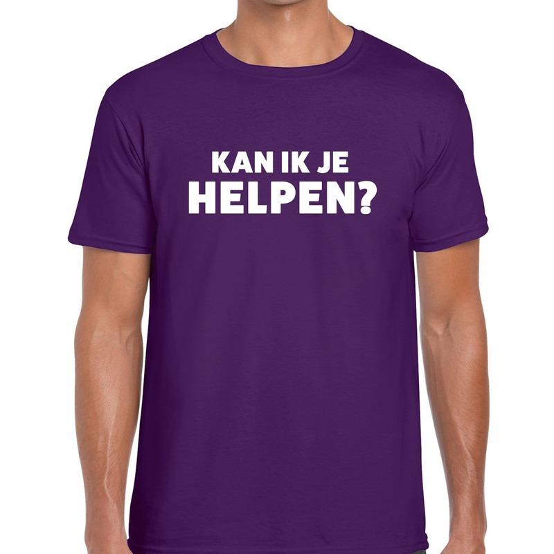 Kan ik je helpen beurs/evenementen t-shirt paars heren