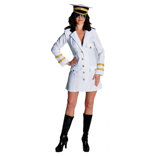 Kapiteins jurkje wit volwassenen