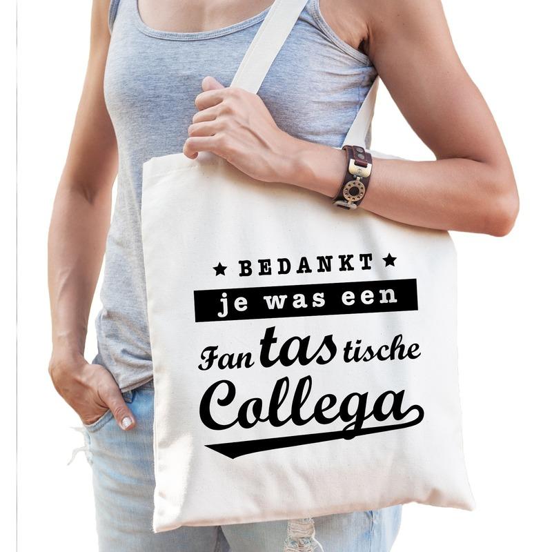Katoenen cadeau tas/shopper fantastische collega naturel dames