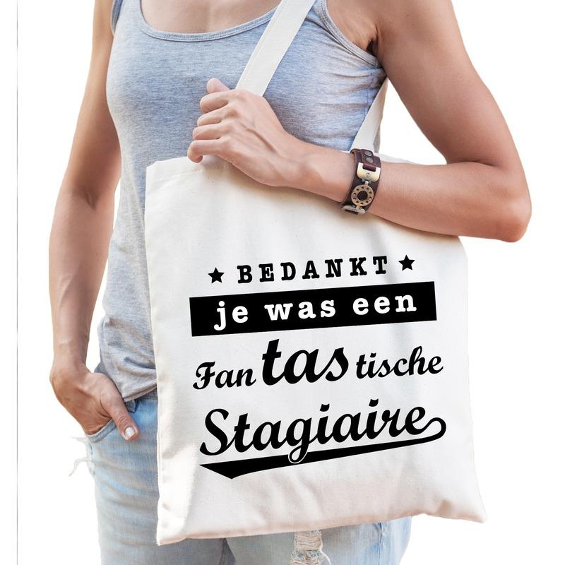 Katoenen cadeau tas/shopper fantastische stagiaire naturel dames