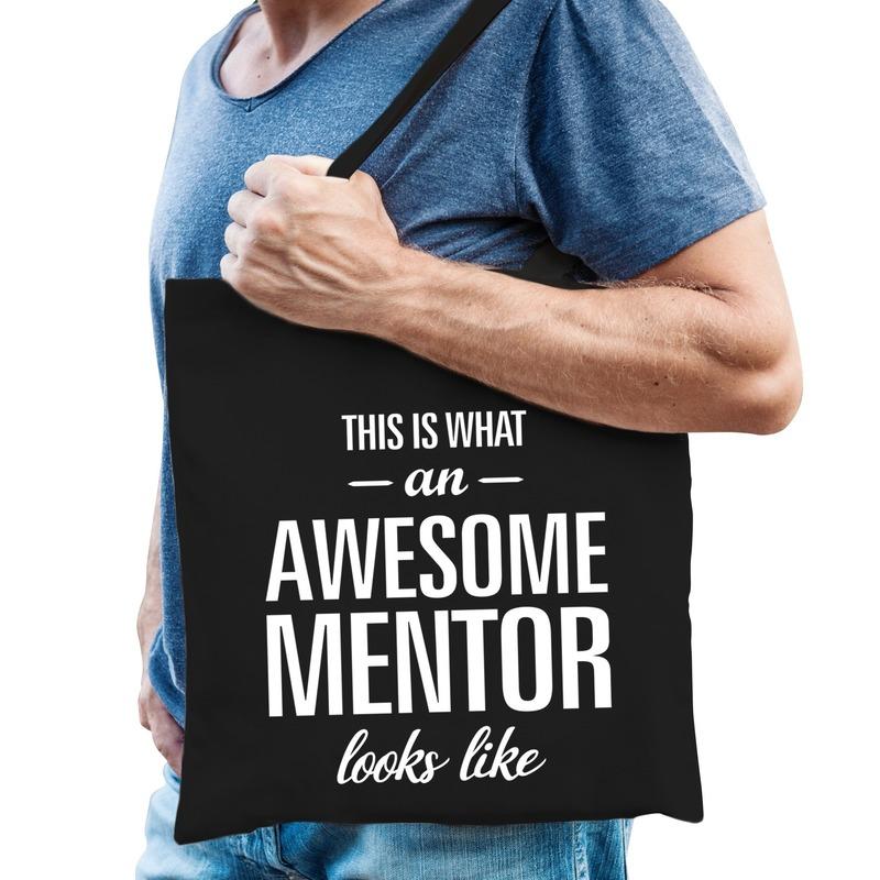 Katoenen cadeau tasje awesome mentor zwart