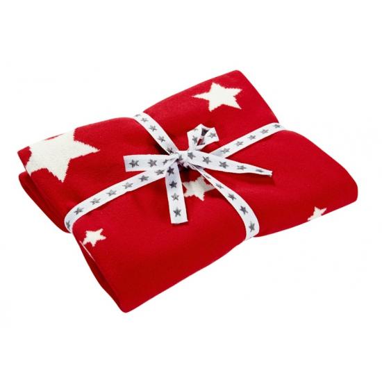 Katoenen dekentje rood met sterren 80 x 80 cm