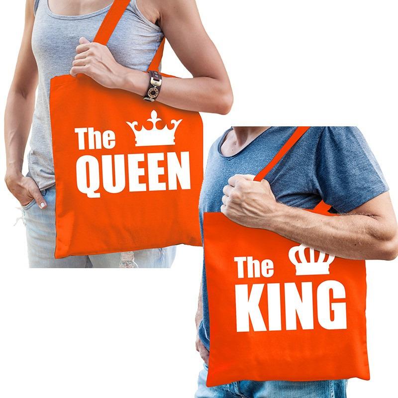 Katoenen tassen oranje the king - the queen volwassenen