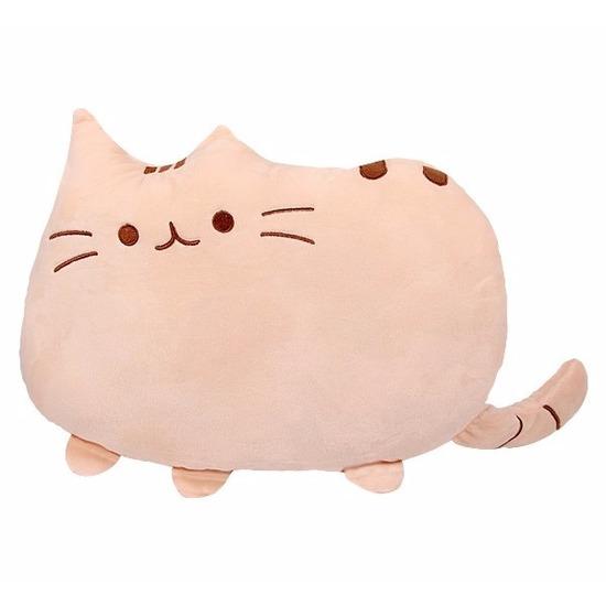 Katten-poezen sier-bank kussentjes beige 40 cm