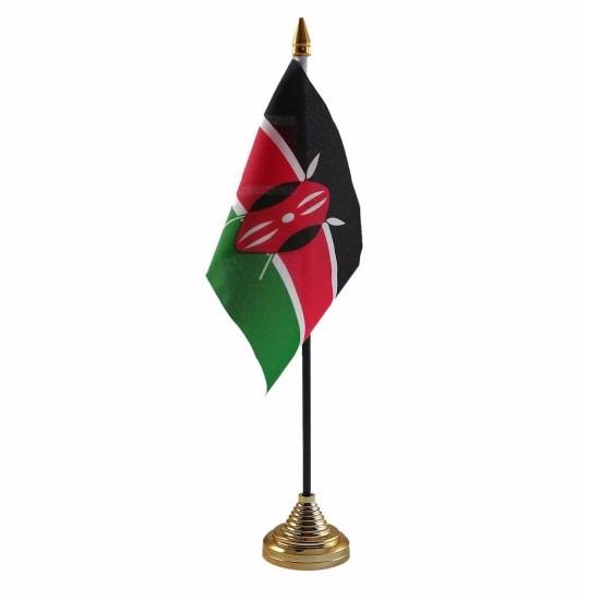 Kenia tafelvlaggetje 10 x 15 cm met standaard