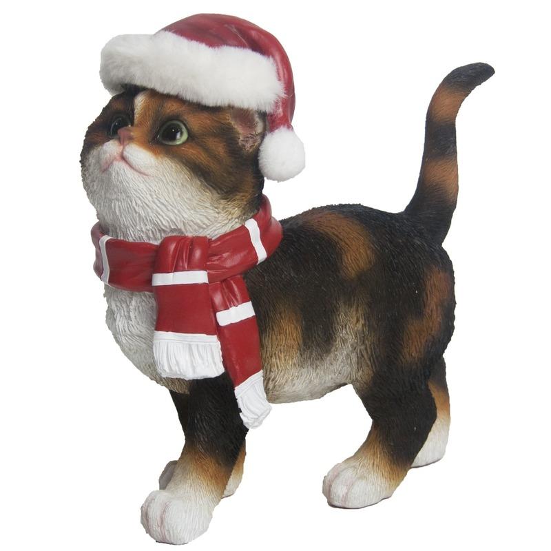 Kerst decoratie beeldje bruine bonte kat/poes 22 cm