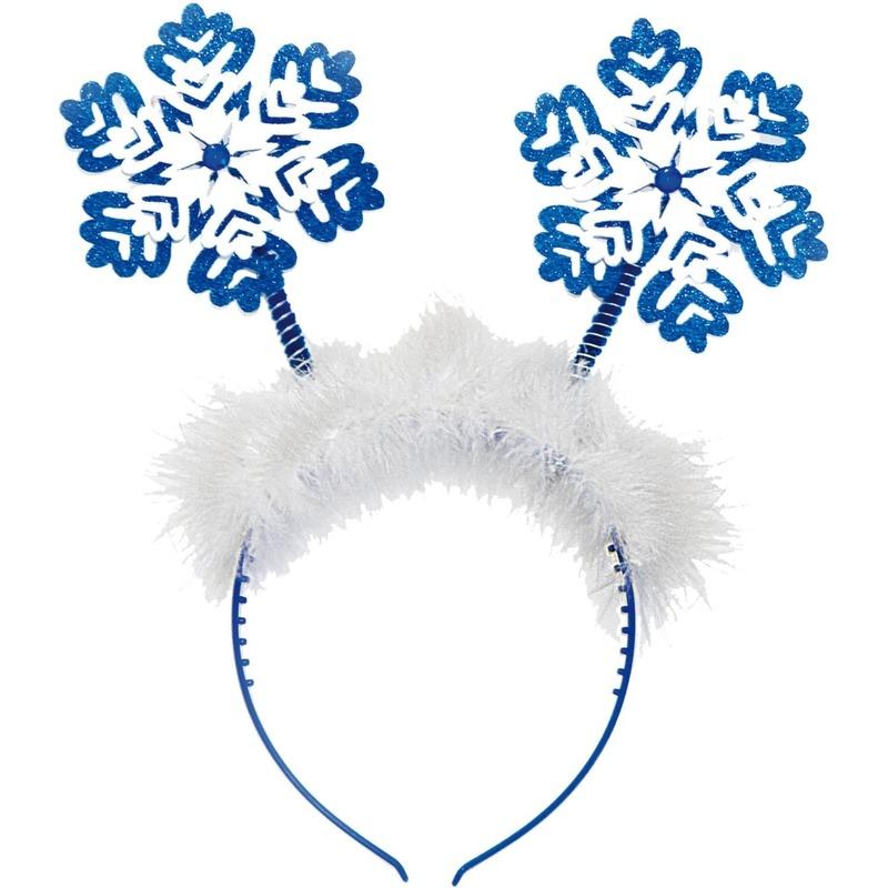 Kerst diadeem/tiara blauw met sneeuwvlokken