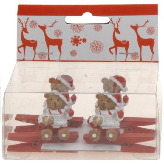 Kerst kaarten knijpers met beer met hart 4 stuks