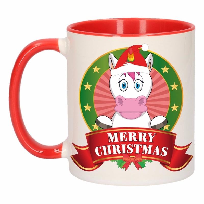Kerst mok - beker met eenhoorn print 300 ml