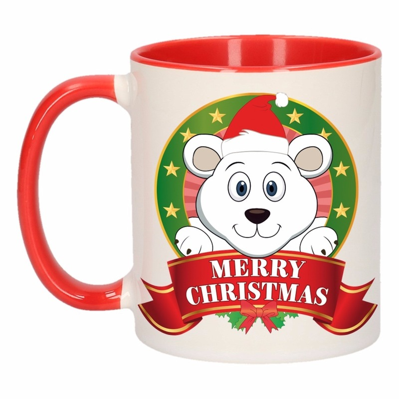 Kerst mok - beker met ijsbeer print 300 ml