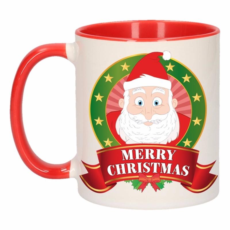 Kerst mok - beker met Kerstman print 300 ml