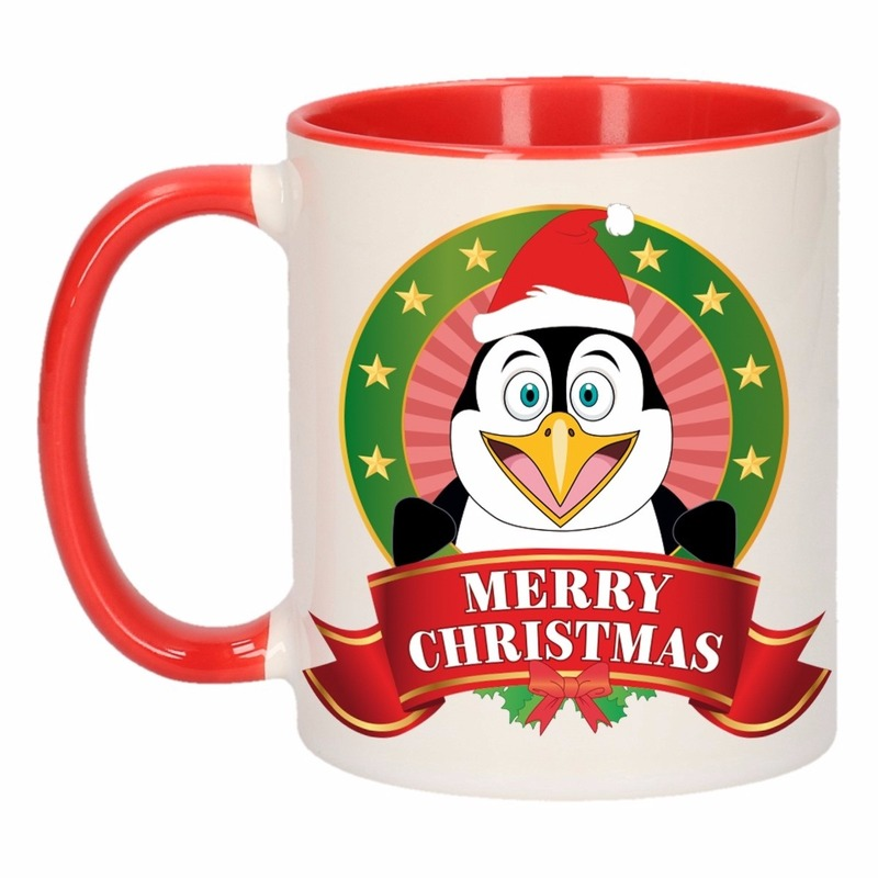Kerst mok - beker met pinguin print 300 ml