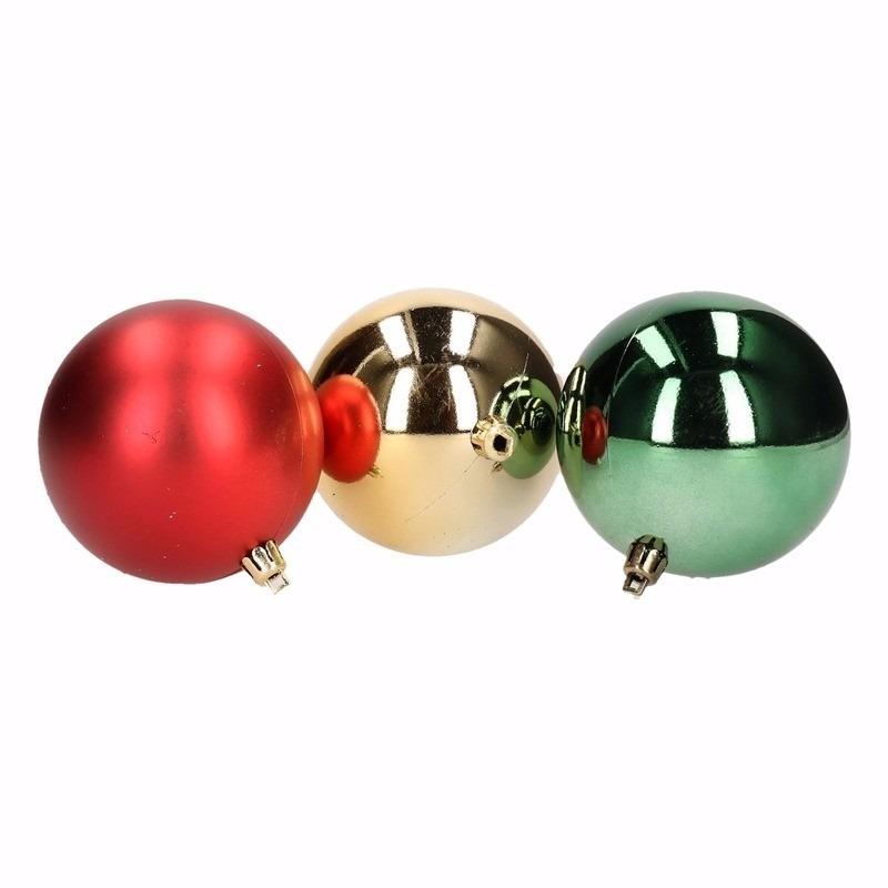 Kerst rood/groene kerstballen mix Traditional Christmas 12 stuks