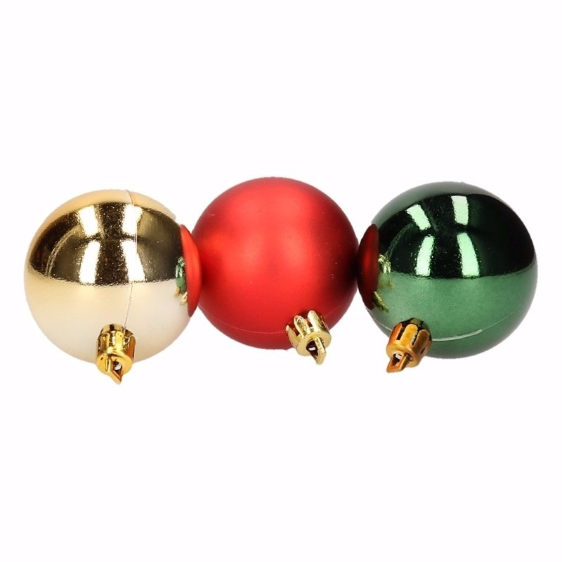 Kerst rood/groene kerstballen mix Traditional Christmas 5 stuks