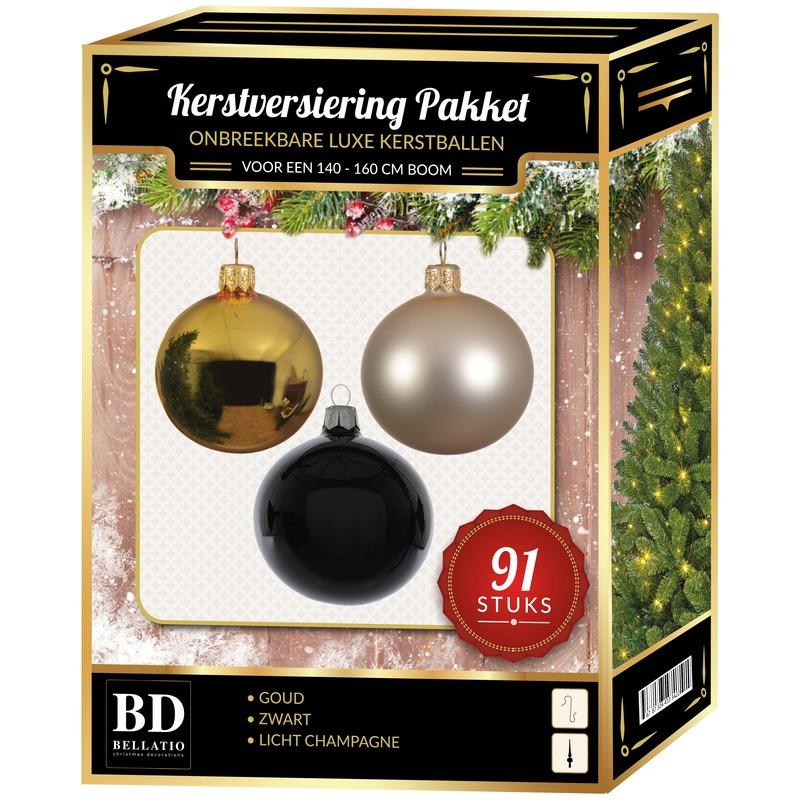 Kerstbal en piek set 91x goud-champagne-zwart voor 150 cm boom