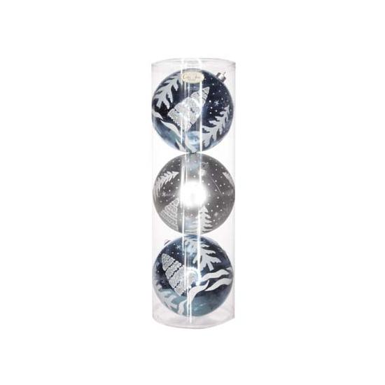 Kerstballen blauw/zilver 15 cm