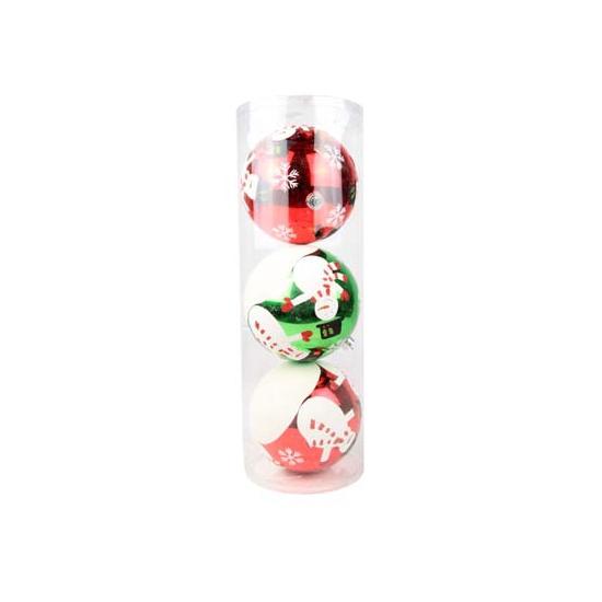 Kerstballen met sneeuwpop 15 cm