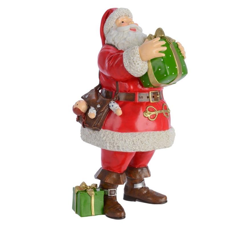 Kerstbeeldjes kerstman beeld met cadeautje 23 cm