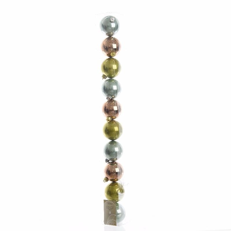 Kerstboom decoratie kerstballen mix groen/brons 10 stuks 6 cm