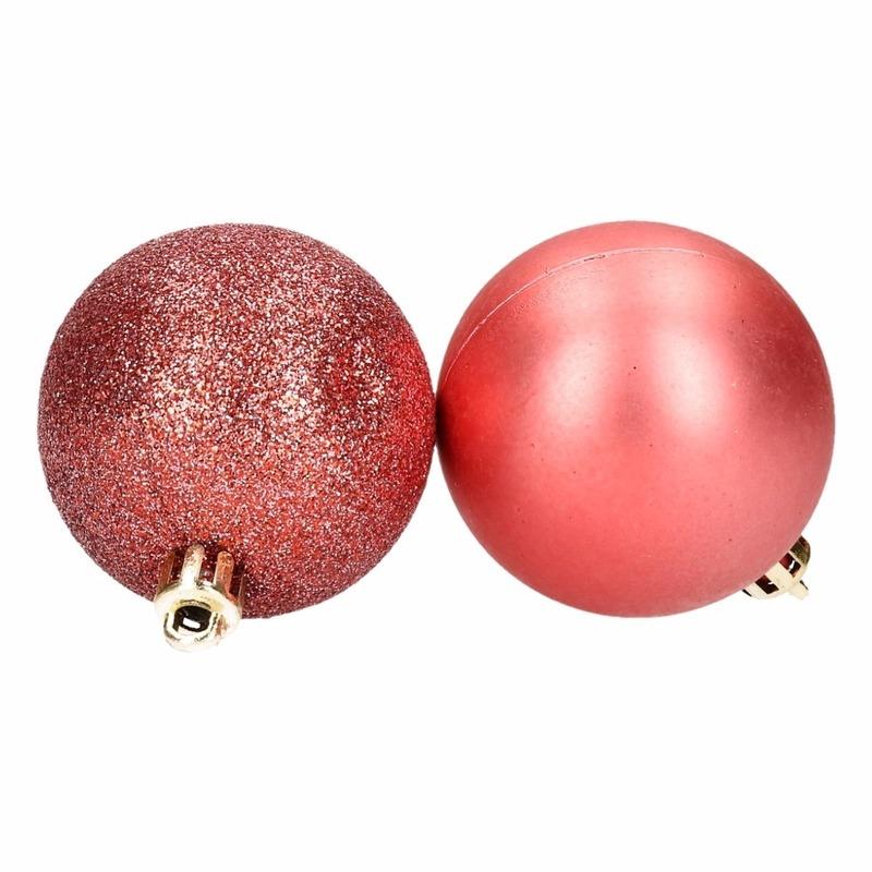 Kerstboom decoratie kerstballen mix rood 8 stuks type 1 - 4 cm