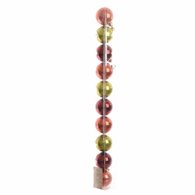 Kerstboom decoratie kerstballen mix rood/groen 10 stuks 6 cm