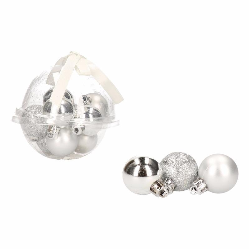 Kerstboom decoratie zilveren mini kerstballetjes 3 cm 12x stuks