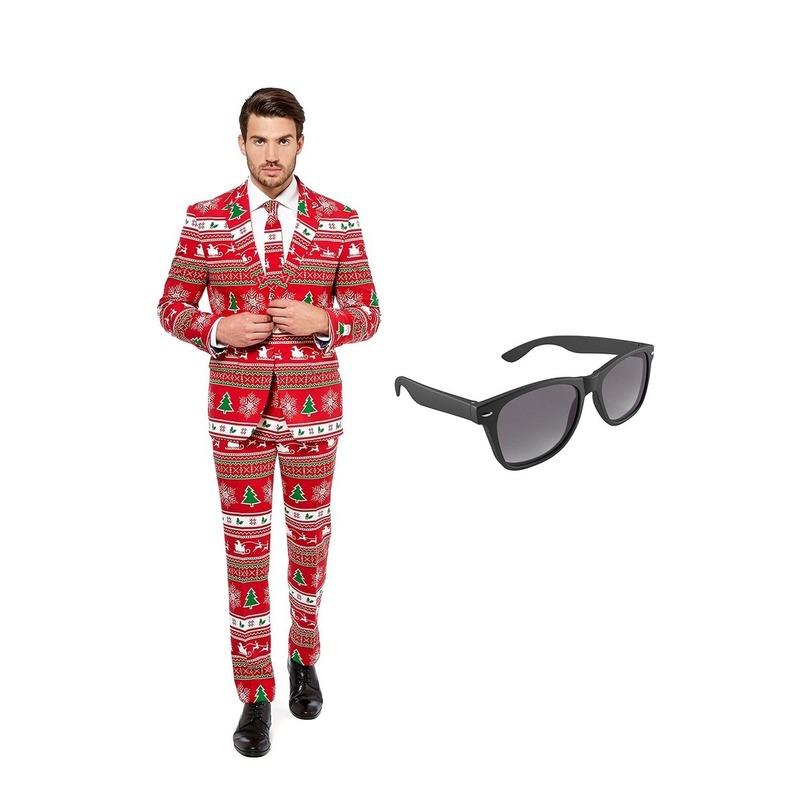 Kerstboom print heren kostuum maat 52 (XL) met gratis zonnebril